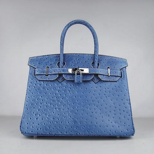 Реплика Hermes Birkin сумки 030 страуса смальты (серебро)