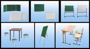 Доски школьные (аудиторные) магнитные,  меловые,  маркерные,  парты,  стул