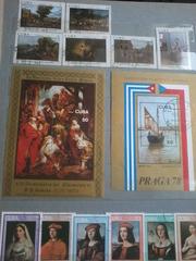 Почтовые марки-в основном  живопись и скульптура с60-х годов по 80-е